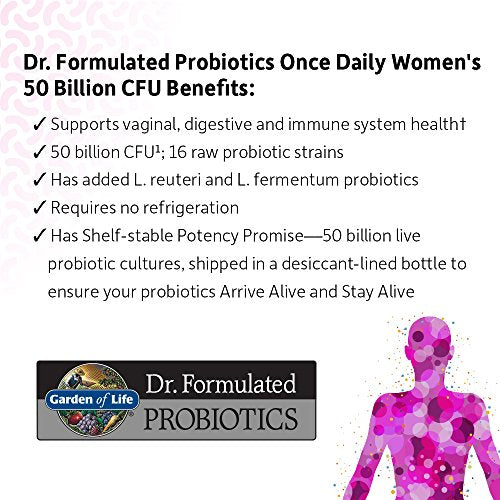 Garden Of Life Dr. Formulated Probiotics For Women, Once Daily Womenâ??S Probiotics, 50 Billion Cfu