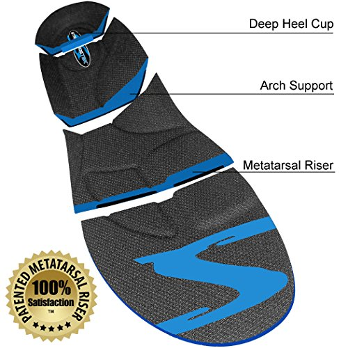 Stridetek Tactical Trainer Orthotic Insoles - Arch Support Metatarsal Pad & Gel Plugs Prevent Foot Pain Plantar Fasciitis & Shin Splints - (Blue) - Mens 4 / Womens 5
