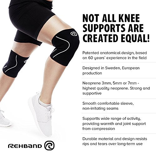 Rehband Rx Knee Sleeve 7mm - Black - Small - 1 Sleeve