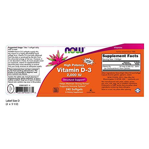 Now Supplements, Vitamin D 3 2,000 Iu, High Potency, Structural Support*, 240 Softgels