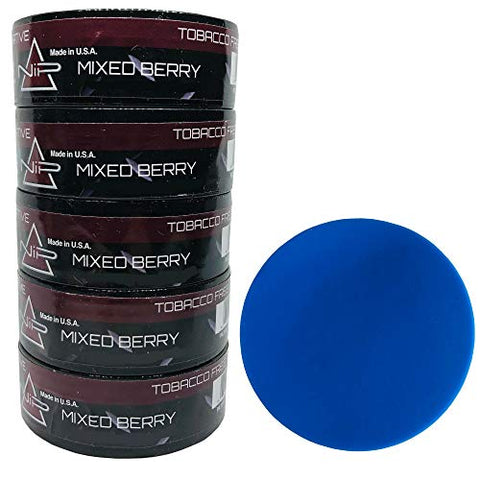 Nip Energy Dip Mixed Berry 5 Cans with DC Crafts Nation Skin Can Cover - Blue