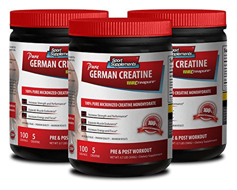 Strength Powder - German CREATINE Powder - MICRONIZED CREATINE MONOHYDRATE CREAPURE - 500G - 100 Servings - German creapure creatine - 3 Cans
