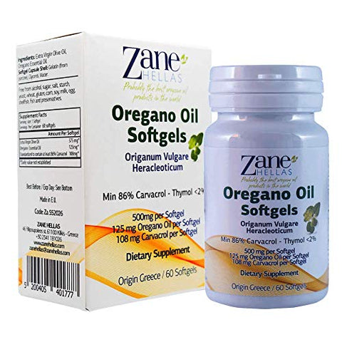 Zane Hellas Oregano Oil Softgels. The Highest Concentration in The World. Every Softgel Contains 25% Pure Greek Wild Essential Oil of Oregano. 108 mg Carvacrol per Softgel. 120 Softgels. Pack of 2.