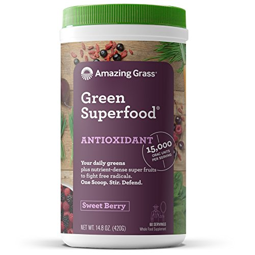 Amazing Grass Green Superfood Antioxidant: Organic Plant Based Antioxidant and Wheat Grass Powder for full body recovery, 8 servings of Fruits and Veggies per Scoop, Sweet Berry Flavor, 60 Servings