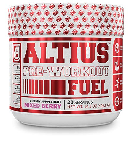 ALTIUS Pre-Workout Supplement - Naturally Sweetened - Clinically Dosed Powerhouse Formulation - Increase Energy & Focus, Enhance Endurance - Boost Strength, Pumps, & Performance - Mixed Berry Blast (1