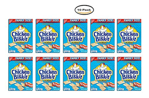 PACK OF 10 - Nabisco Chicken in a Biskit Flavor Original Baked Snack Crackers Family Size!, 12 oz