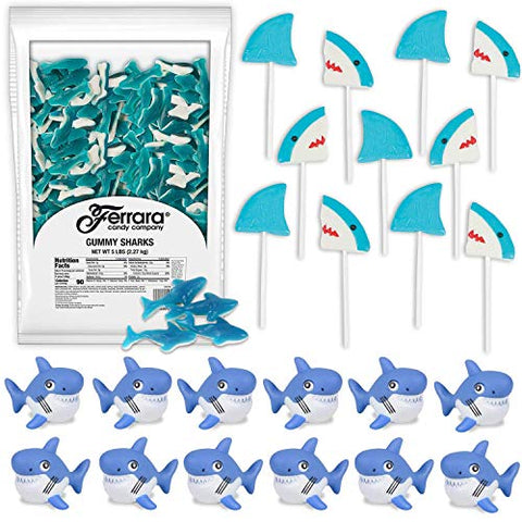 Shark Candies and Favors: 5 LB Large Gummy Sharks, 12 Shark Lollipops, 12 Rubber Water Squirting Shark - Great for Kids Birthday Party Favors and Prizes, Beach and Pool Parties