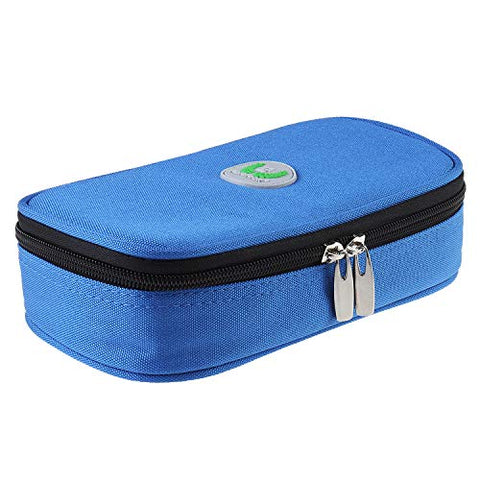 Temperature Display Insulin Cooler Travel Case Diabetic Organizer Pouch Medical Cooler Bag Oxford Fabric, 8 x 4 Inch (Blue - No Ice Pack)