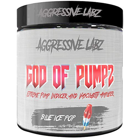 Aggressive Labz GOD of PUMPZ - Extreme Nitric Oxide Booster - Massive Pumps (Blue Ice Pop)