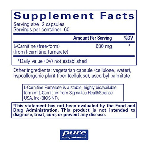 Pure Encapsulations - l-Carnitine Fumarate - Hypoallergenic Supplement Support for Enhanced Muscle and Fat Metabolism* - 120 Capsules