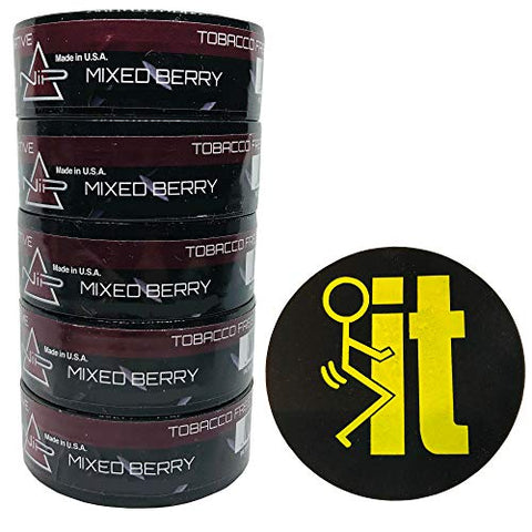 Nip Energy Dip Mixed Berry 5 Cans with DC Crafts Nation Skin Can Cover - FIT Black