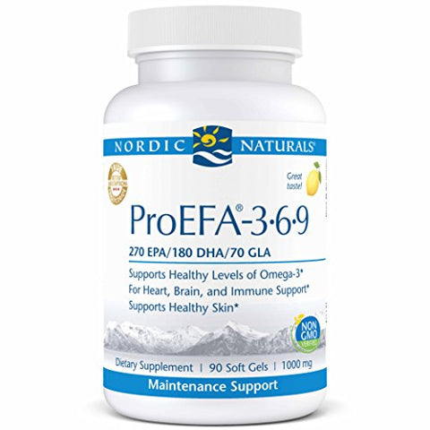 Nordic Naturals ProEFA 3-6-9 - Fish Oil and Borage Oil, 270 mg EPA, 180 mg DHA, 70 mg GLA, 180 mg Oleic Acid, Balance of Omegas 3, 6, and 9 for Heart, Brain, and Immune Health*, 90 Soft Gels