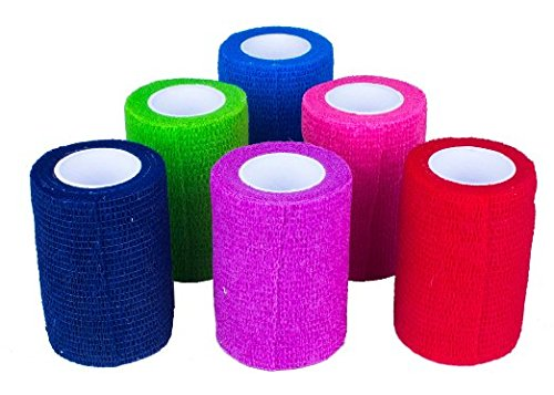 "Ever Ready First Aid Self Adherent Cohesive Bandages 2"" x 5 Yards - 12 Count, Rainbow Colors"