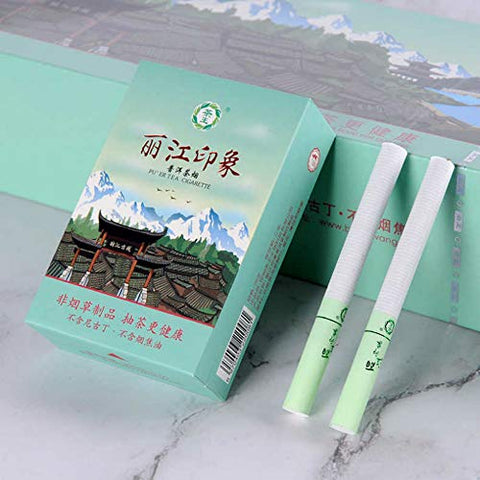 Yunnan Chinese Herbal Cigarettes, Green Tea Menthol Cigarettes, Smoke-Free-Nicotine-Free, Can Replace Cigarettes-Cigarettes That Can Clean The Lungs (5 Packs,Lijiang Style)