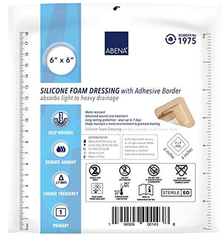 Abena Silicone Foam Dressing w/Film Backing and Silicone Adhesive Border, Sterile, 4