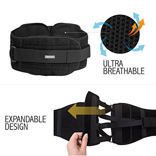 Bracoo Lumbar Brace, Lower Back Support Belt for Chronic Pain Relief, Sciatica & Posture Corrector - Advanced, Ultra-Customizable, Versatile with Quad-Spring Stabilizers, BB30, Small/Medium