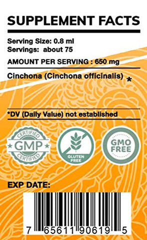 Garden Organics - Quinine Alcohol-Free Extract, Wildcrafted Cinchona (Cinchona officinalis) Dried Bark (2 Fl Oz)