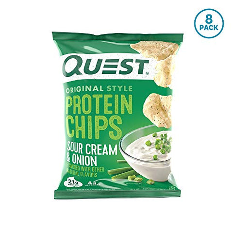 Quest Nutrition Sour Cream & Onion Protein Chips, Low Carb, Gluten Free, Potato Free, Baked, Pack of 8