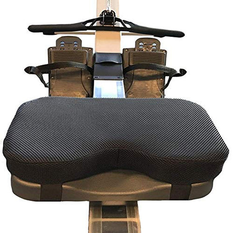 Rowing Machine Seat Cushion - That Perfectly Fits Concept with Thicker Memory Foam, Washable Cover, and Straps- Also Works Great with Exercise Recumbent Stationary Bike