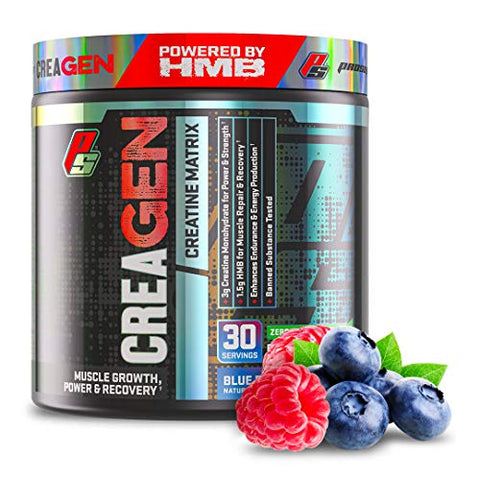 CreaGEN Creatine Monohydrate HMB Powder, Creatine Matrix, Muscle Growth, Power & Recovery, (30 Servings, Blue Razz Popsicle)