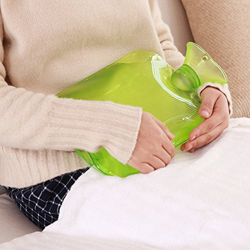 Attmu Classic Rubber Transparent Hot Water Bottle 2 Liter With Knit Cover   Green