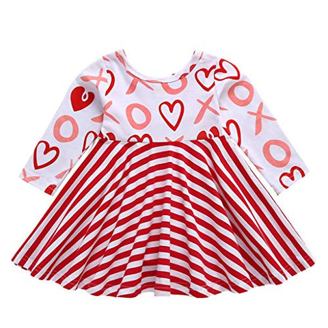 Toddler Kid Baby Girl Long Sleeve Stripe Heart Print Party Princess Dress Tops Cute Clothes Dresses (18-24 Months, Red)