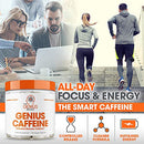 Image of Genius Caffeine, Extended Release Microencapsulated Caffeine Pills, All Natural Non-Crash Sustained Energy & Focus Supplement, Preworkout & Nootropic Brain Booster For Men & Women,100 Count