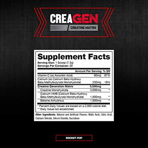 CreaGEN Creatine Monohydrate HMB Powder, Creatine Matrix, Muscle Growth, Power & Recovery, (30 Servings, Rocket Pop)