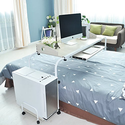 sogesfurniture Overbed Table with Wheels,Height and Length Adjustable Mobile Table 47 inches Works as Laptop Cart Computer Table Bed Table,Maple BHUS-203-2-120MP