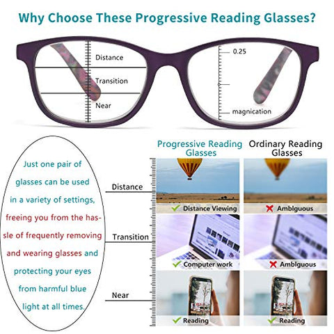 JO Progressive Multifocus Reading Glasses Blue Light Blocking for Women Men,No Line Multifocal Spring Hinge Readers,Bohemia Style Eyewear (Purple, 2.50RX)