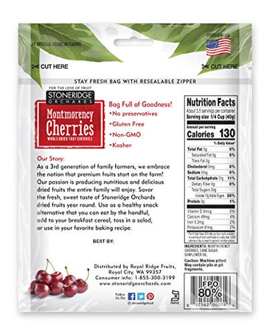 Stoneridge Orchards Montmorency Cherries 5 ounce (Pack of 6) - Whole Dried Tart Cherries