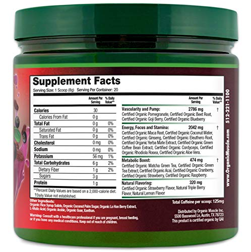 Organic Muscle #1 Rated Organic Pre Workout Powder Natural Vegan Keto Pre Workout & Organic Energy S