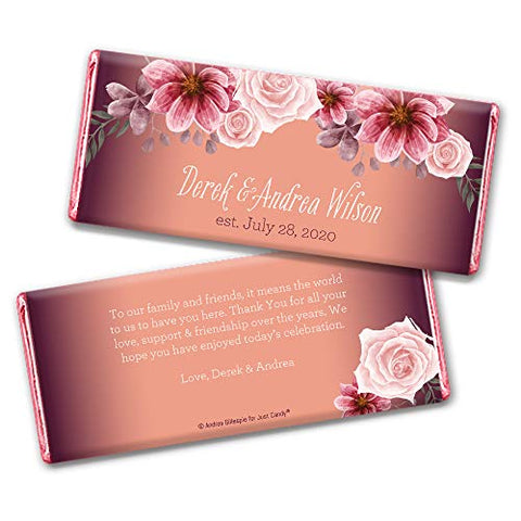 Rustic Wedding Favors for Guests Personalized Wrappers for Hershey's Chocolate Bars (25 Pack) - Bridal Shower Favors for Guests