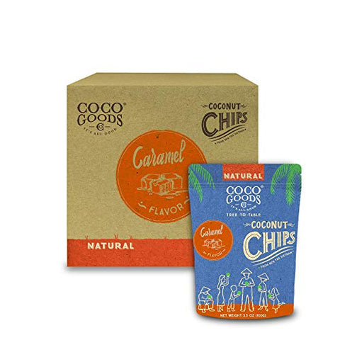 CocoGoodsCo Vietnam Single-Origin Natural Toasted Coconut Chips, Caramel (Pack of 12)