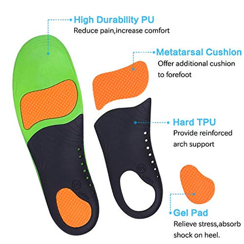 Orthotics Insoles Arch Support Inserts (2 Pairs) Comfort Sports Insoles Plus Support Anti-Fatigue Technology Replacement Insole Athletics Leisure and Work