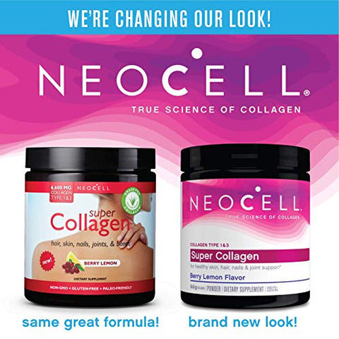 NeoCell Super Collagen Powder - 6,600mg Collagen Types 1 & 3 - Berry Lemon - 6.7 Ounce (Packaging May Vary)