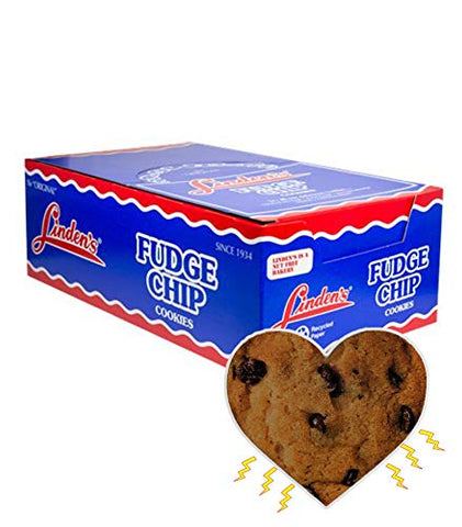 Linden's Fudge Chip Cookies, 18 Individual 3 Cookie Snack Packs Bundled with Exclusive InPrimeTime Cookie Heart Magnet