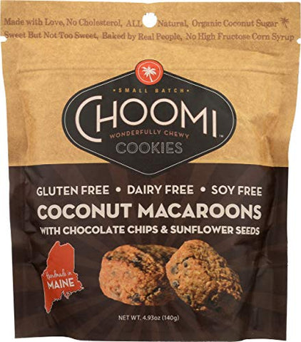Choomi Cookies, Macaroons Coconut Chocolate Chips Sunflower Seeds, 4.93 Ounce