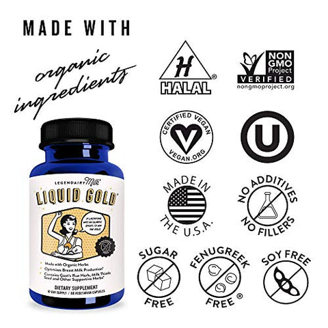 Legendairy Milk Liquid Gold - Contains Goats Rue and Milk Thistle - Fenugreek Free - Certified Organic by QAI, Certified Vegan, Non-GMO Project Verified, Certified Halal, and Certified Kosher