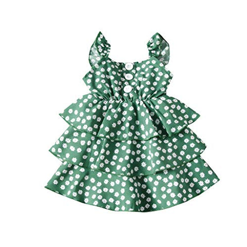 heavKin-Clothes 1-6T Toddler Baby Girls Cake Skirt Summer O-Neck Button Frill Floral Print Strap Dress