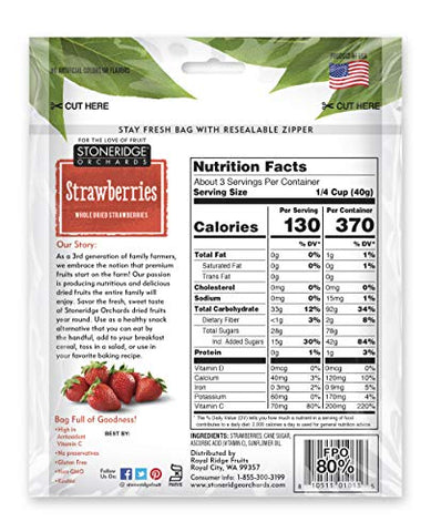 Stoneridge Orchards Whole Dried Strawberries 4 ounce (Pack of 6)