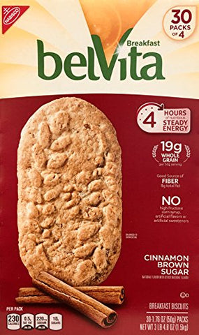 Belvita Cinnamon Brown Sugar Biscuits, 1.76 oz, 30Count, 4 Pack