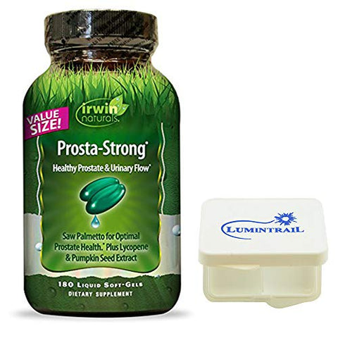 Irwin Naturals Prosta Strong Supplement, Supports Prostate Health and Urinary Flow - 180 Liquid Softgels Bundle with a Lumintrail Pill Case