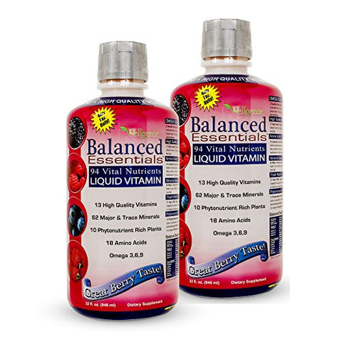 Wellgenix WGXBALLESS32X2 Balanced Essentials Liquid Minerals and Vitamins/Multivitamins Very Berry 32 oz, 2 Bottles (Pack of 2)