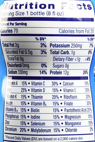 Ensure Light Nutrition Shake, 12g of high-quality protein, 0g Sugar, 2g Fat, Vanilla, 8 fl oz, 24 Count