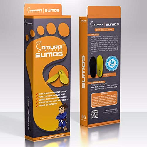 Samurai Insoles Sumos- Super-Padded Orthotics for Flat Feet- Perfect for Work Boots, Roomy Sneakers or Shoes (Mens 8-8 1/2 | Womens 10-10 1/2)