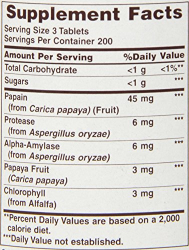 American Health Papaya Enzyme With Chlorophyll Chewable Tablets   600 Count (200 Total Servings)