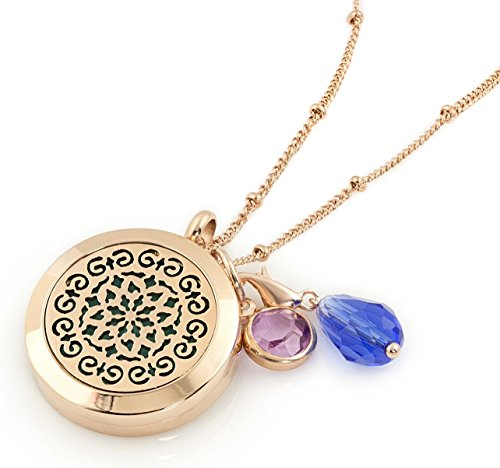 "1 Rose Gold Essential Oil Diffuser Necklace - Aromatherapy Jewelry - Hypoallergenic 316L Surgical Grade Stainless Steel, 20.8"" Chain + 9 Washable Insert Pads + Charms"