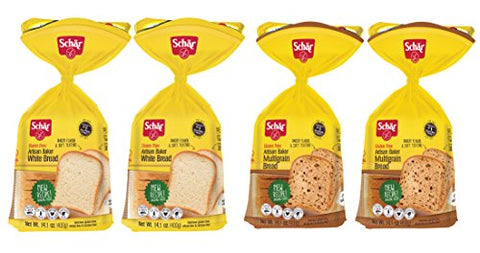 Schar Gluten Free White Bread & Multigrain Bread, 14.4 oz (4 Pack), 14.4 oz