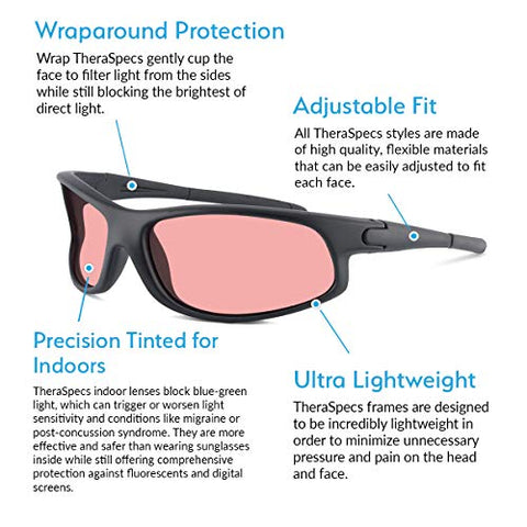 TheraSpecs Wrap Migraine Glasses for Light Sensitivity, Photophobia and Fluorescent Lights | Unisex | Indoor Lenses